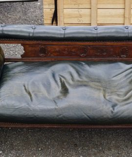 Antique Victorian Handmade Green Chesterfield Chaise Longue