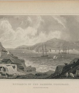 Antique Engraving Print, Entrance of the Harbour, Fishguard, 1831