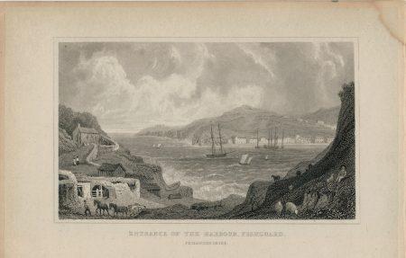 Antique Engraving Print, Entrance of the Harbour, Fishguard, 1831