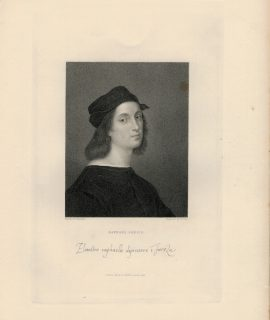 Antique Engraving Print, Raphael Sanzio, 1845