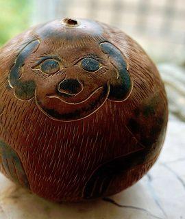 Vintage Handmade Carved Gourd Art, 1950