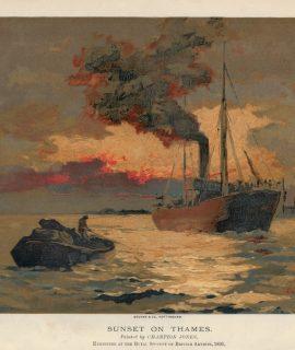 Vintage Print, Sunset on Thames, 1891