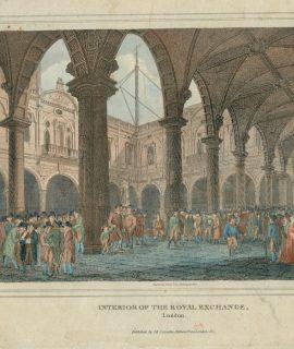 Antique Engraving Print, Interior of the Royal Exchange, London, 1814