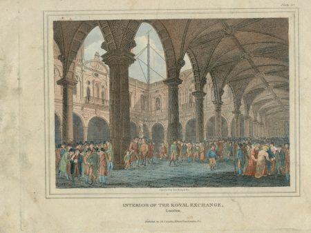 Antique Engraving Print, Interior of the Royal Exchange, London, 1814