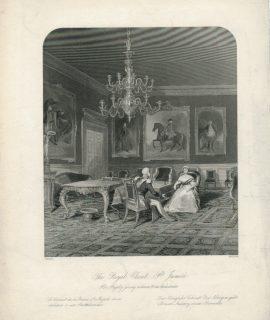 Antique Engraving Print, The Royal Closet, 1845