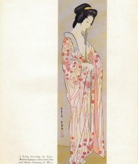 Vintage Japanese Print, A Lady Dressing by Goyo, 1932