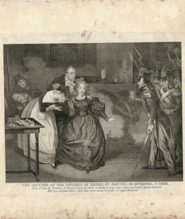 Rare Antique Engraving Print, The Capture of the Duchess of Berry, 1852