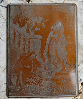 Antique copper printing plate engraving matrix, 1820 ca.