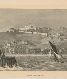 Antique Print, Dover From the Sea, 1885