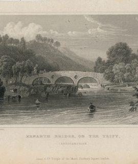 Antique Engraving Print, Kenarth Bridge, on the Teify, Cardiganshire, 1831