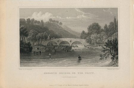Antique Engraving Print, Kenarth Bridge, on the Teify, Cardiganshire, 1831