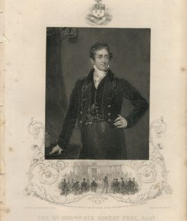 Antique Engraving Print, Sir Robert Peel, 1850