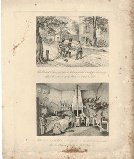 Antique Engraving Print, Exterior and Interior, 1842