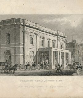 Antique Engraving Print, Theatre Royal, Drury Lane, 1828