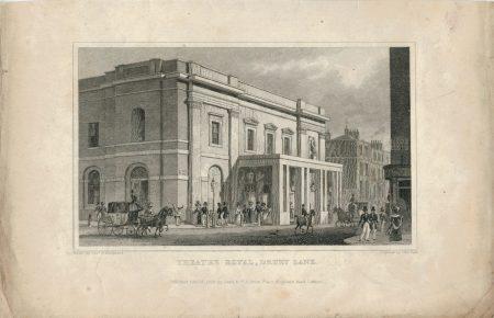 Antique Engraving Print, Theatre Royal, Drury Lane, 1828