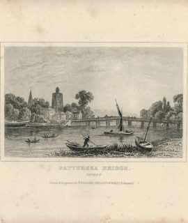 Antique Engraving Print, Battersea Bridge, Surrey, 1850