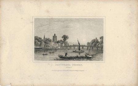 Antique Engraving Print, Battersea Bridge, Surrey, 1850