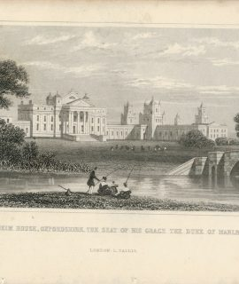 Antique Engraving Print, Blenheim House, Oxfordshire, 1845