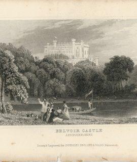 Lot of 24 Antique Engravings Print, Castles, 1830 ca.