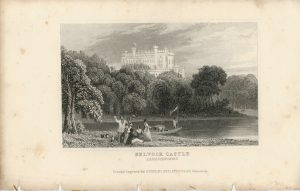 Lot of 24 Antique Engravings Print, Castles, 1830 ca.