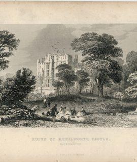 Lot of Antique Engravings Print, Castles, 1830 ca.