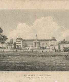 Antique Engraving Print, Chelsea Hospital, 1806
