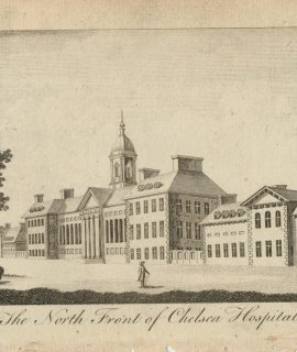 Antique Engraving Print, The North Front of Chelsea Hospital, 1770 ca.