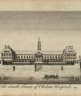 Antique Engraving Print, The South Front of Chelsea Hospital, 1770 ca.