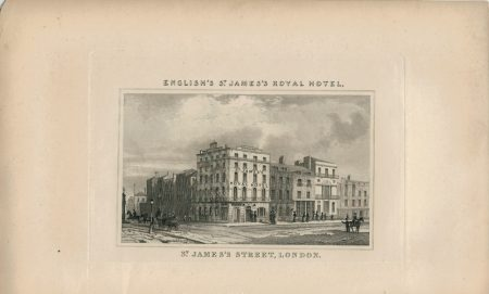 Antique Engraving Print, St. James Street, London, 1835