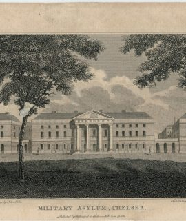 Antique Engraving Print, Military Asylum Chelsea, 1805