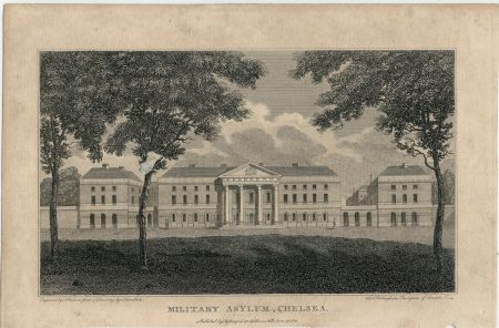 Antique Engraving Print, Military Asylum Chelsea, 1805