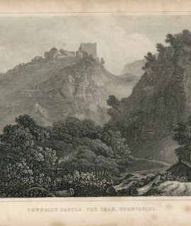 Antique Engraving Print, Peveril's Castle, the Peak, Derbyshire, 1830