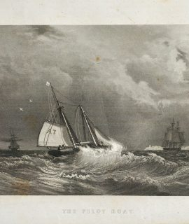 Antique Engraving Print, The Pilot Boat, 1840 ca.