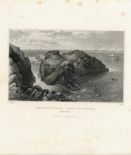 Antique Engraving Print, Carrick-A-Rede, Ireland, 1844