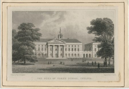 Antique Engraving Print, The Duke of York's School, Chelsea, 1831