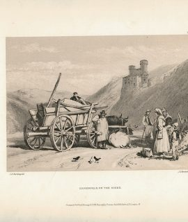 Antique Print, Ehrenfels on the Rhine, 1870 ca.
