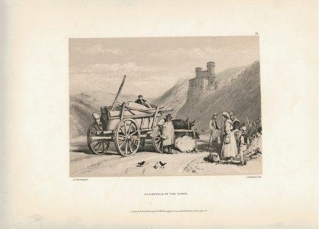 Antique Print, Ehrenfels on the Rhine, 1870 ca.
