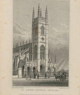 Antique Engraving Print, St. Lukes Church, Chelsea, 1828