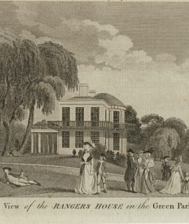 Antique Engraving Print, View of the Rangers House in the Green Park, 1810 ca.