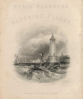Antique Engraving Print, Frontispiece, Entrance to the Port of Berwick, 1839