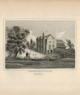 Antique Engraving Print, Farringdon Lodge, 1840