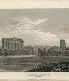 Antique Engraving Print, Hackney Church, Middlesex, 1819
