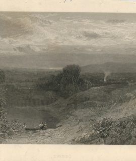 Antique Engraving Print, Evening, 1840 ca.