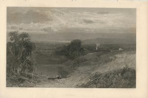 Antique Engraving Print, Evening, 1840 ca.