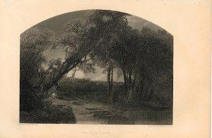 Rare Antique Engraving Print, The Village Spire, 1840 ca.