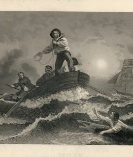Antique Engraving Print, The Rescue, 1840 ca.