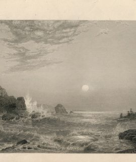 Antique Engraving Print, Marine Landscape, 1840 ca.