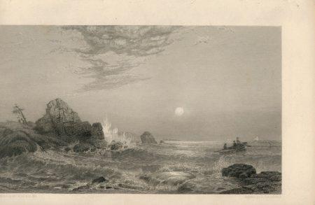 Antique Engraving Print, Marine Landscape, 1840 ca.