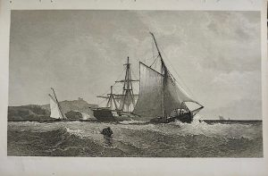 Rare Antique Engraving Print, In Distress, 1840 ca.