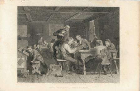 Rare Antique Engraving Print, Bad Pay for a Portrait, 1840 ca.